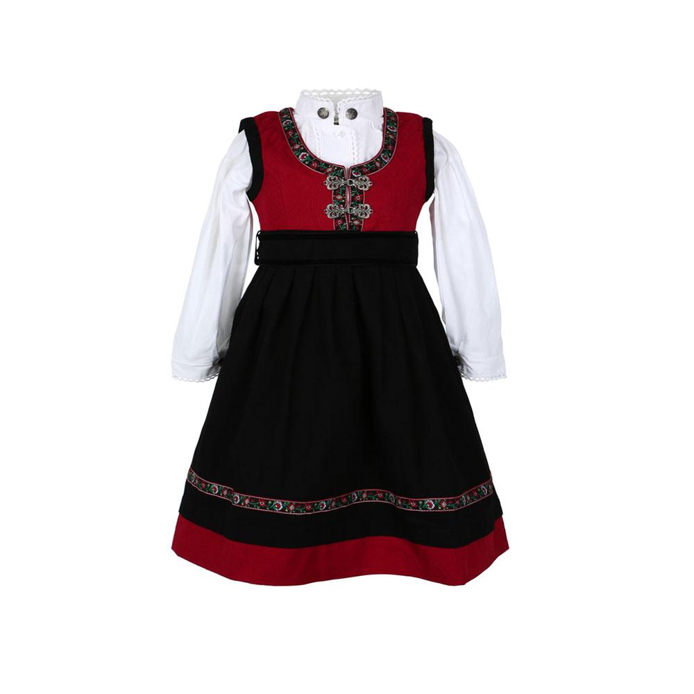 Salto bunad / Festdrakt med skjorte til baby jente rød